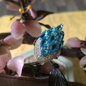 Vintage 925 blue topaz ring